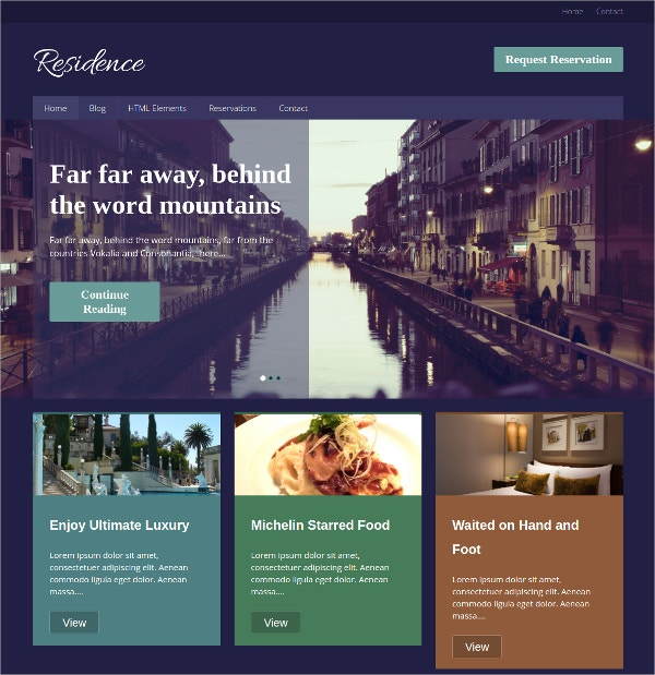 Residence & Hotel WordPress Theme $69