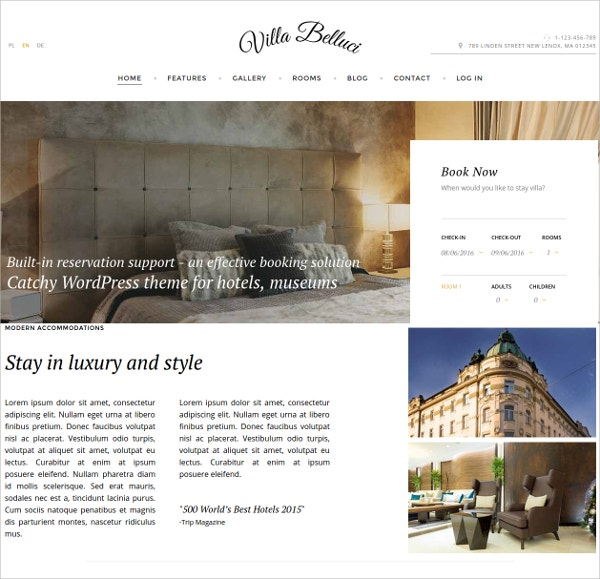 Elegant Hotel  WordPress Theme
