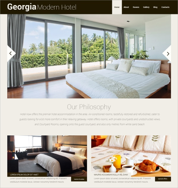 Modern Hotels Responsive WordPress Theme $75