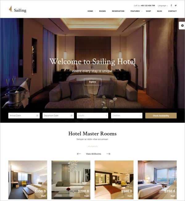Hotel Luxury WordPress Theme $59