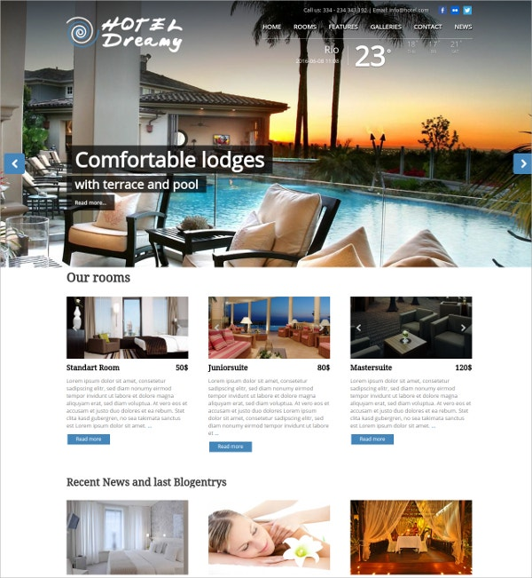 Hotel & Spa WordPress Theme $69