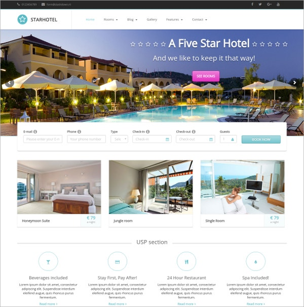 Hotel & Accommodation WordPress Theme $49