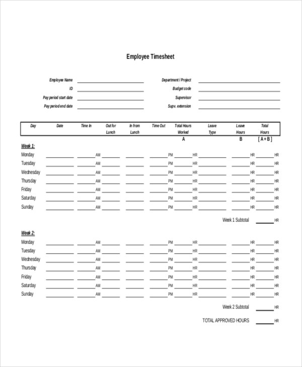 HR Timesheet Template