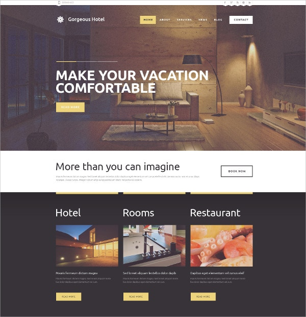 Premium Hotels WordPress Theme $75