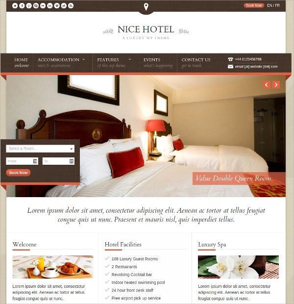 Hotel & Lodge WordPress Theme $49