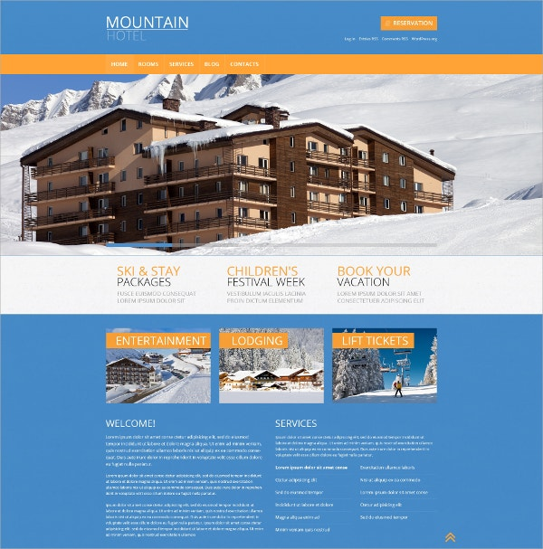 Hotels & Entertainment Responsive WordPress Theme $75