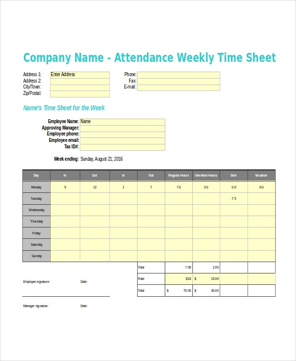 16 timesheet templates free sample example format