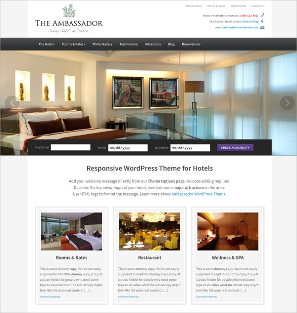 Excellent Hotel WordPress Theme