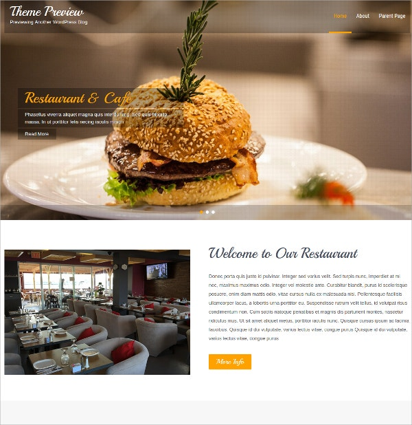 Hotel & Restaurant WordPress Theme