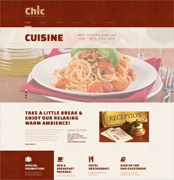 Hotel Business & Cuisine WordPress Theme $75