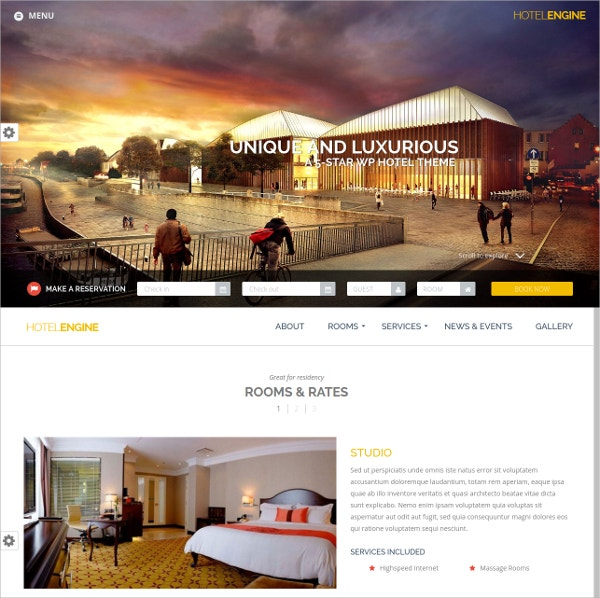 Unique Hotel WordPress Theme $89
