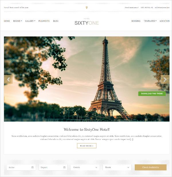 Classy Responsive Hotel WordPress Theme