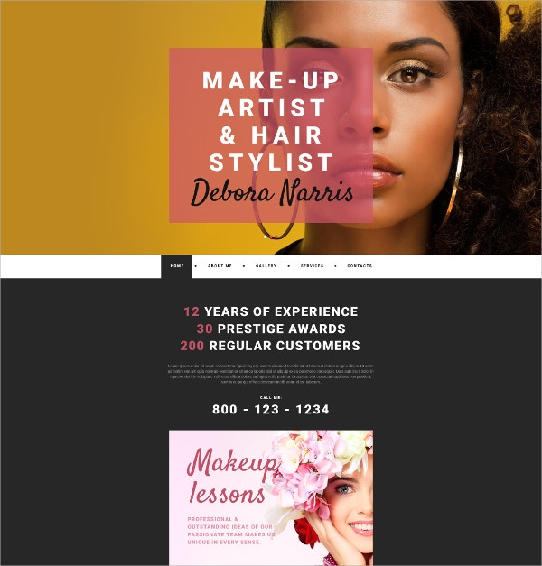 makeup artist personal page website template 75