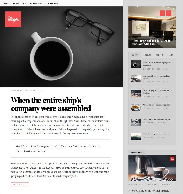 Blogist Personal Blog Website Theme $44