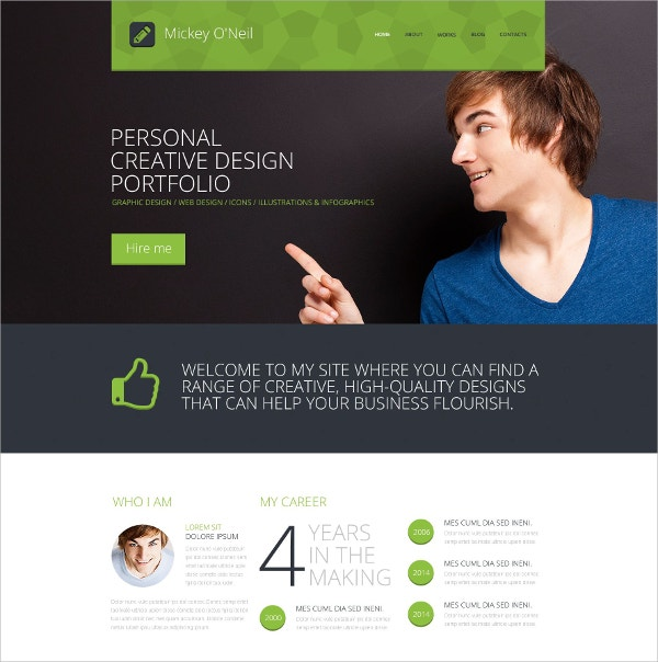 Personal Page Responsive Website Template $69