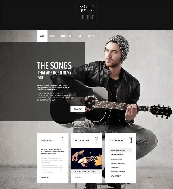 Singers Personal Portfolio Website Template $69