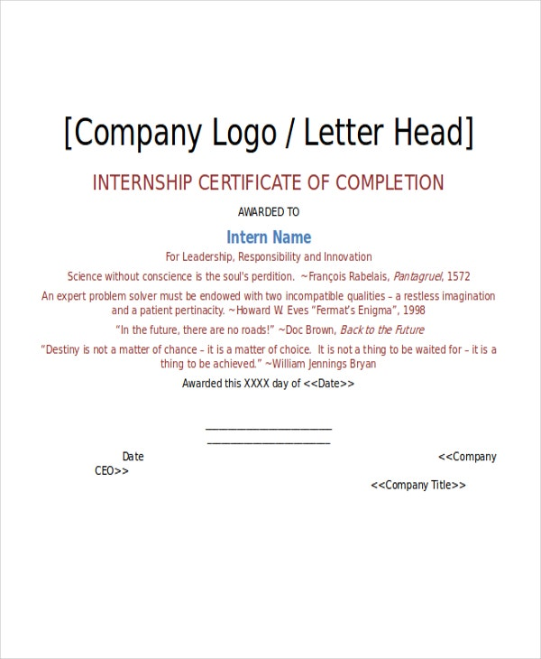Internship Certificate Template 7 Free Word PDF Document – Work Completion Certificate Format