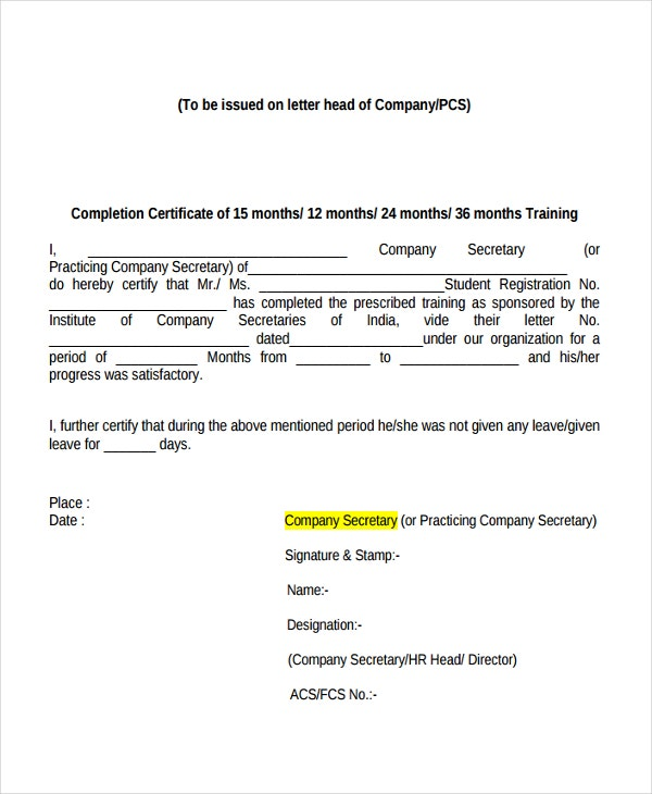 Internship Training Certificate Template