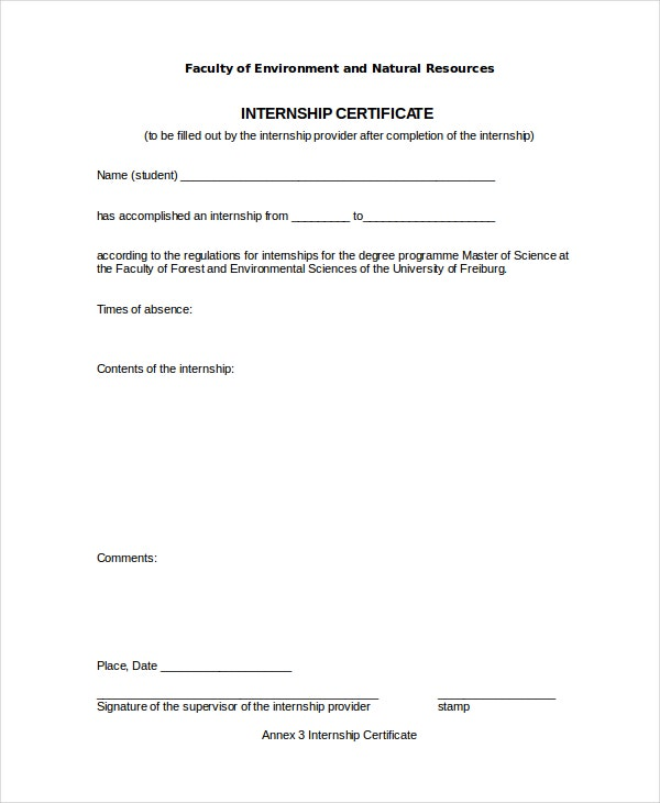 Environment and Natural Resources Internship Certificate