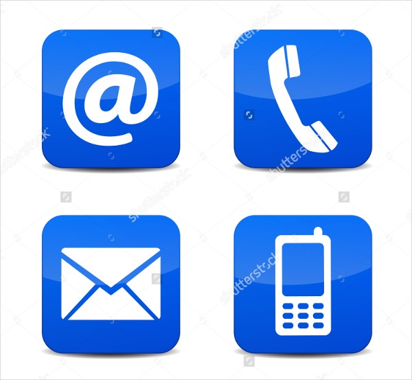 Blue Contact Us Icons