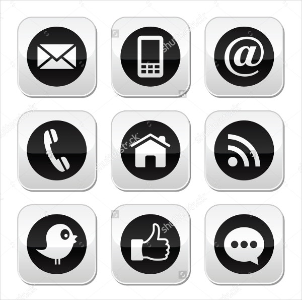 Black Contact Us Icons