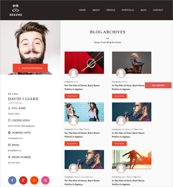 Profile And Portfolio WP Website Theme $49