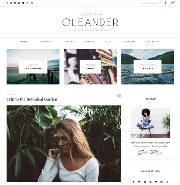 Fashion Personal Blog & Shop Website Theme $49