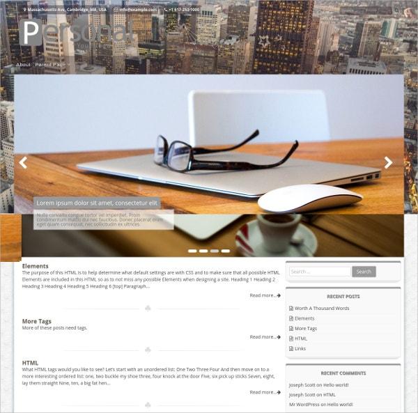 Free Personal Portfolio WP Website Theme
