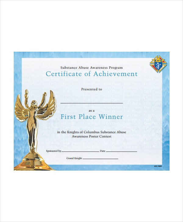 Winner certificate template 9 free pdf document downloads free certificate of achievement first place winner yelopaper Images