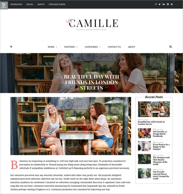 Personal & Magazine WordPress Blog Website Theme $59