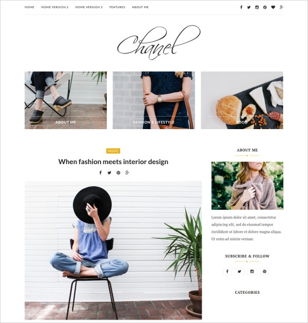 Fashion & Beauty Personal Website Theme $35