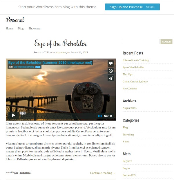 Personal Journalist Website Theme $80
