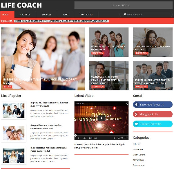 Life Coach Personal WordPress Theme $75