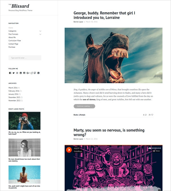 Personal Blog WordPress Website Theme $44