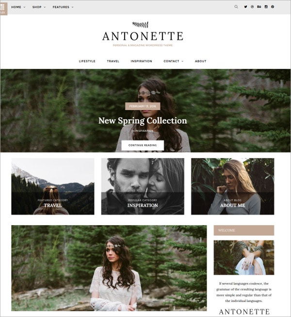 Photography Personal WordPress Blog Website Theme $34