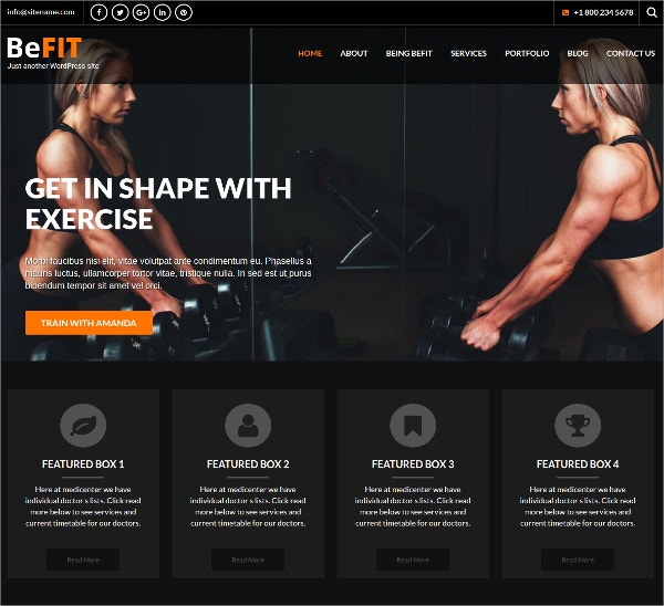 Personal Fitness WordPress Website Theme