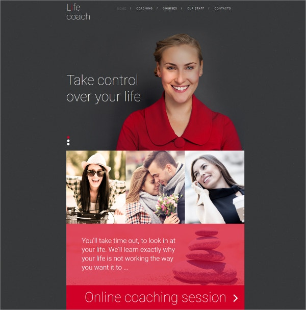 Life Coach Responsive Website Template $199