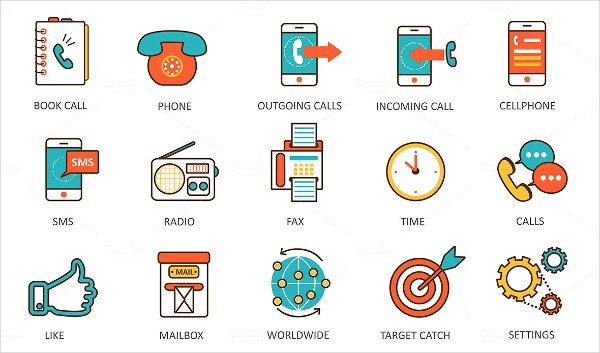 Contact Us Flat Icon Set