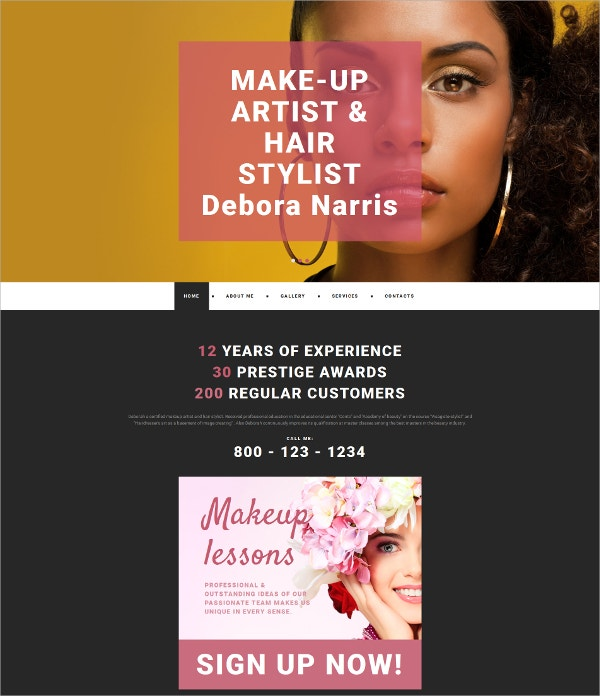Makeup Artist & Hair Style Personal Website Template $199