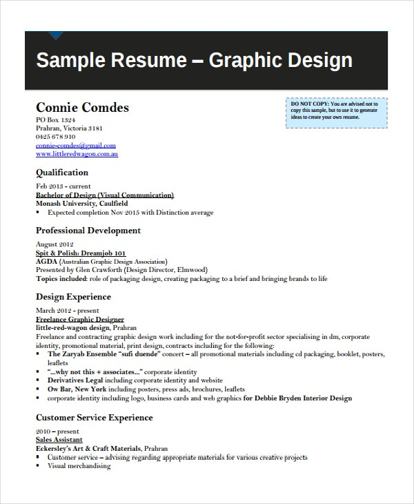 Graphic Artist Resume