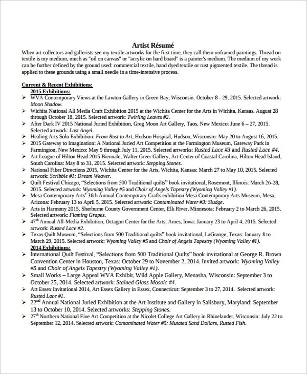 Artist Resume Template   Free Word Pdf Document Downloads  Free