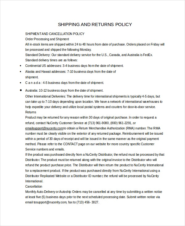Return Policy Template Free Word PDF Document Downloads Free - Online store policies template