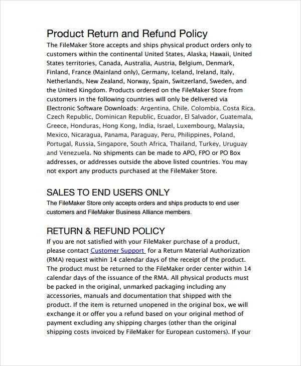 Return Policy Template   Free Word Pdf Document Downloads