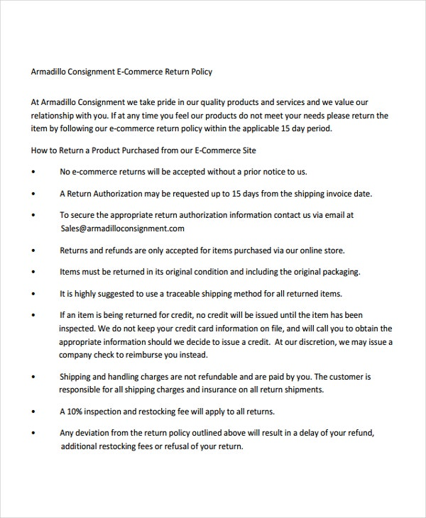Armadillo Consignment E-Commerce Return Policy