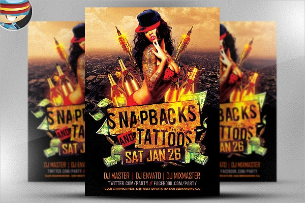 Snapbacks and Tattoos Flyer