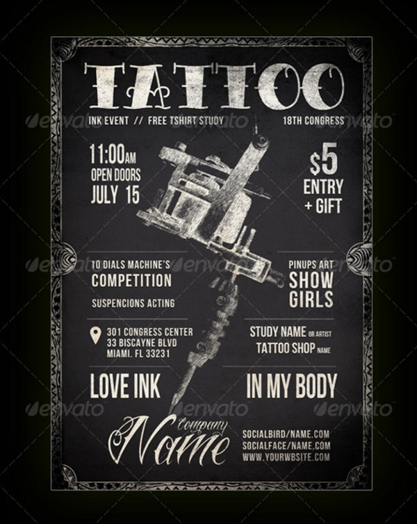 Blackboard Tattoo Flyer