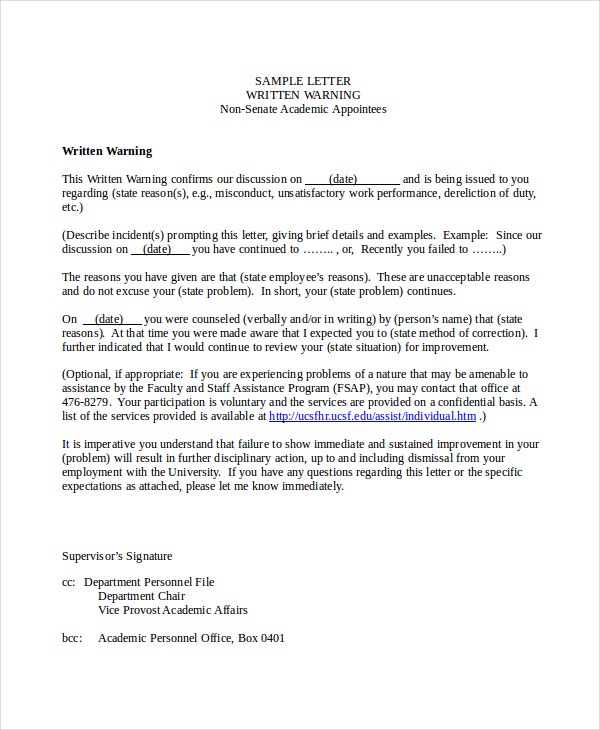 Academic Warning Letter