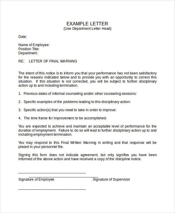 Warning letter template 9 free word pdf document downloads final warning letter template thecheapjerseys Images