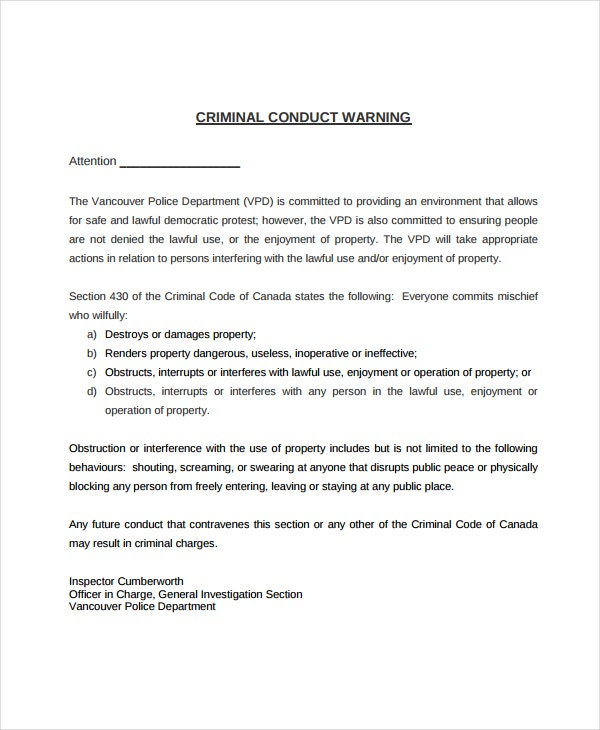 Criminal Warning Letter