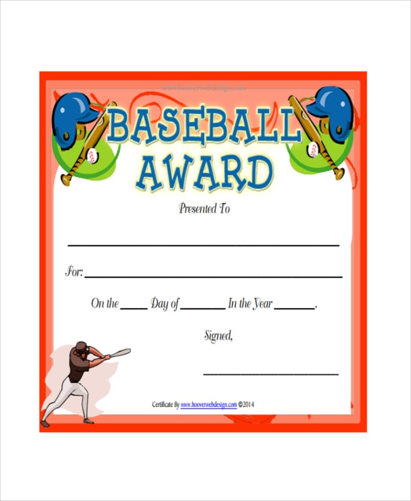 Baseball Certificate Template   Free Pdf Document Downloads